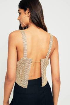 Metalic body chain top